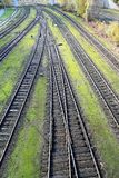 Railroad tracks, with switch harp. Many Railroad tracks, with switch harp stock image