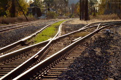 Railroad tracks and switches. A view of several sets of railroad or train tracks with switches and junctions in a Detroit rail yard stock photography