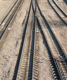 Railroad tracks and switches. Landscape with many railroad tracks and switches royalty free stock photography