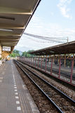 Railroad tracks in thailand. Train station with the station label is in Thailand Royalty Free Stock Photos