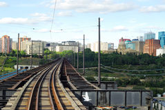 Railroad tracks to downtown stock image