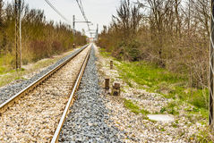 Railroad tracks to the horizon Royalty Free Stock Images