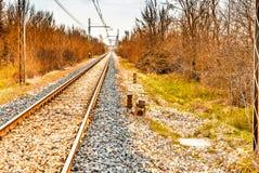 Railroad tracks to the horizon Stock Images