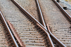 Railroad tracks. At the train station in Bad Doberan stock photos