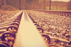 Railroad tracks at a train station Royalty Free Stock Image
