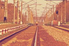 Railroad tracks at a train station Royalty Free Stock Photography