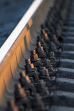 Railroad tracks at a train station Royalty Free Stock Photo