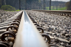Railroad tracks at a train station Royalty Free Stock Images