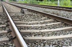 Railroad tracks for train transportation Stock Images