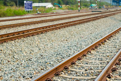 Railroad tracks. Are in use Daytime Royalty Free Stock Images