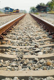 Railroad tracks. Are in use Daytime Stock Photo