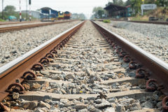 Railroad tracks. Are in use Daytime Royalty Free Stock Image