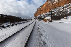 Railroad tracks in the valley. This photo was taken in Echo Canyon area of Utah Royalty Free Stock Photography