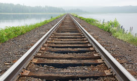 Railroad tracks vanish in the mist. Railroad tracks lead across the lake and vanish into the fog in the woods on the far bank Royalty Free Stock Photo