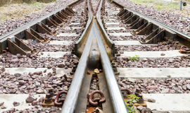 Railroad tracks. Version of my trainline image but this one is uncropped and shows the full track in clearview Stock Photography