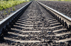 Railroad tracks view from below bottom view perspective Stock Images