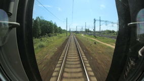 Railroad tracks view from moving train. Full HD stock video footage