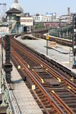 Railroad Tracks Williamsburg Bridge Brooklyn royalty free stock image