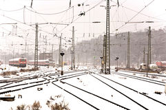 Railroad tracks in Winter Royalty Free Stock Images