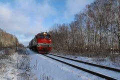 Railroad tracks winter day. Russia. Stock Image
