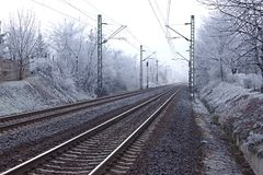 Railroad. Tracks in winter fog Stock Image