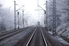 Railroad. Tracks in winter fog Royalty Free Stock Image