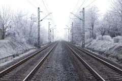 Railroad. Tracks in winter fog Stock Images