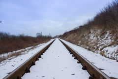 Railroad tracks in winter Royalty Free Stock Photo