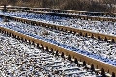 Railroad tracks in winter. Stock Photo