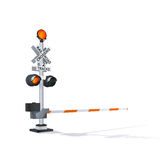 Railroad Traffic Warning. Color Vector Photorealistic Railway Traffic Signal Illustration  On White Royalty Free Stock Photos