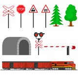 Railroad traffic way and train with boxcars. Railroad train transportation. Railway equipment with signs, barriers, alarms, traffic lights. Flat icons vector stock illustration