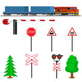 Railroad traffic way and train with containers. Railroad train transportation. Railway equipment with signs, barriers, alarms, traffic lights. Flat icons Stock Image