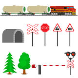Railroad traffic way and train with tank cars. Railroad train transportation. Railway equipment with signs, barriers, alarms, traffic lights. Flat icons vector Royalty Free Stock Photography