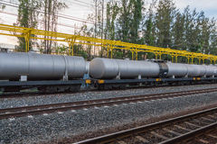 Railroad train of black tanker cars Royalty Free Stock Photo