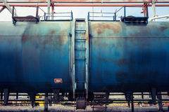 Railroad train of blue tanker cars Stock Images