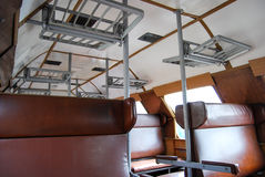 Railroad train carriage interior Royalty Free Stock Images