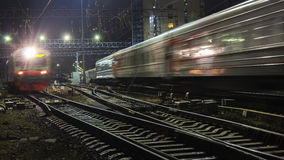 Railroad train fast motion. At night Stock Photo