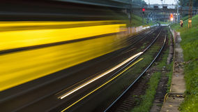 Railroad train fast motion. At night Stock Image