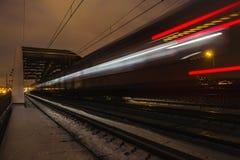 Railroad train fast motion Stock Photography