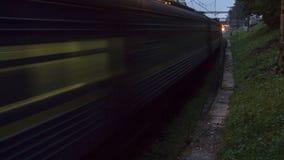 Railroad train fast motion stock footage