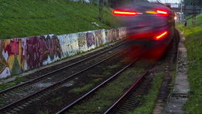 Railroad train fast motion. Time lapse stock footage