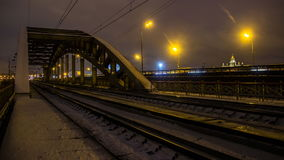 Railroad train fast motion time lapse. Railroad train fast motion in dusk stock footage