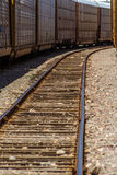 Railroad. Train and parallel rails perspective view vertical Royalty Free Stock Photography