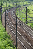Railroad. Train rails in landscape in a summer day Stock Image
