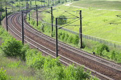 Railroad. Train rails in landscape in a summer day Royalty Free Stock Photography