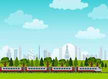 Railroad and train rides. Poster. Flat style Royalty Free Stock Image