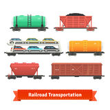 Railroad transportation set. Various train cars. Motorail, oil, ore, hopper cars. Flat style illustration or icon. EPS 10 vector stock illustration