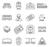 Railroad Travel & Cargo Transportation Icons Thin Line Vector Illustration Set Royalty Free Stock Image