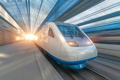 Railroad travel passenger train with motion blur effect, concept tourism.  royalty free stock photo