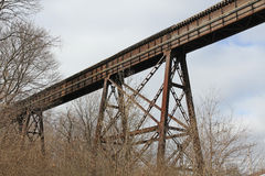 Railroad trestle. Looking up at an old but still used railroad brigle and trestle Royalty Free Stock Photo